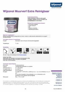 productinfo Wijzonol Muurverf Extra Reinigbaar