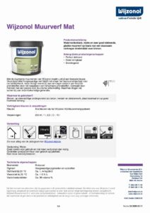 productinfo Wijzonol Muurverf Mat