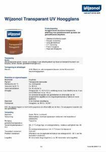 productinfo Wijzonol Transparant UV Hoogglans