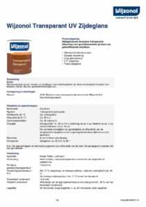 productinfo Wijzonol Transparant UV Zijdeglans