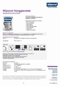 productinfo Wijzonol Hoogglanslak terpentineverdunbaar