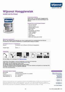productinfo Wijzonol Hoogglanslak waterverdunbaar