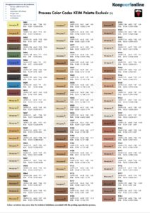 Alle kleurenkaarten voor KEIM Royalan