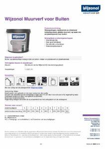 productinfo Wijzonol Muurverf voor Buiten