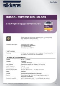 productinfo Sikkens Rubbol Express High Gloss