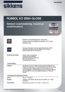 productinformatieblad Sikkens Rubbol XD Semi-Gloss