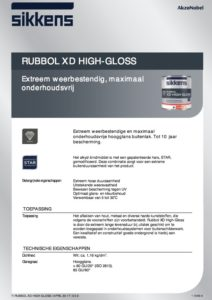 productinfo Sikkens Rubbol XD High Gloss