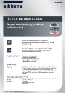 productinfo Sikkens Rubbol XD High Gloss