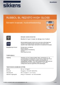 productinfo Sikkens Rubbol BL Rezisto High-Gloss