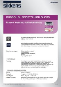 productinfo Sikkens Rubbol BL Rezisto High Gloss
