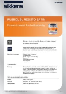 productinfo Sikkens Rubbol BL Rezisto Satin