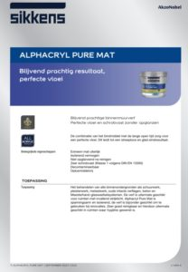 productinfo Sikkens Alphacryl Pure Mat