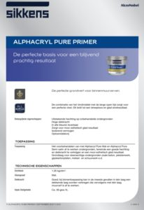 productinfo Sikkens Alphacryl Pure Primer