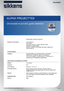 productinformatieblad Sikkens Alpha Projecttex