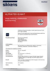 productinfo Sikkens Alphatex IQ Mat