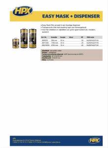 productinfo HPX Easy Mask met dispenser