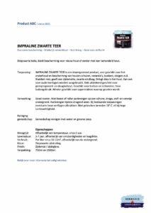 Veiligheidsblad Hermadix Impraline Zwarte Teer