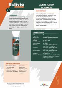 productinfo Bolivia Acrylplamuur Rapid