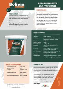 productinfo Bolivia Reparatiepasta Lichtgewicht